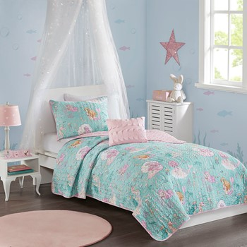 Darya Printed Mermaid Reversible Coverlet Set