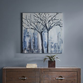 Urban Trees Palette Knife Embellished Canvas