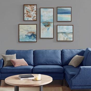 Blue Horizon Gallery Art 5 Piece Set with Bronze Frame