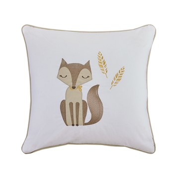 Bashful Vixie Fox Embroidered Cotton Square Pillow