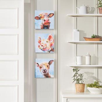 Farm Animals Printed Canvas 3 Piece Set