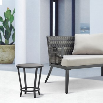 Baxton Black Patio Accent Table