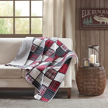 Tulsa Oversized Plaid Print Cotton Quilted Throw