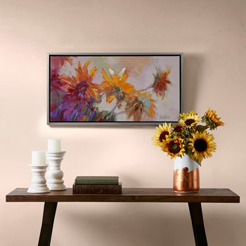 Golden Sunflowers Framed Hand Embellished Canvas