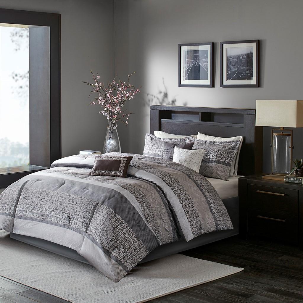 Cal King Size Rhapsody 7 Piece Comforter Set Grey Brown Madison