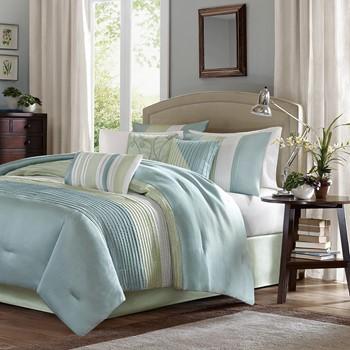 gingham check set buffalo spa blue custom designer bed farmhouse collection bedding