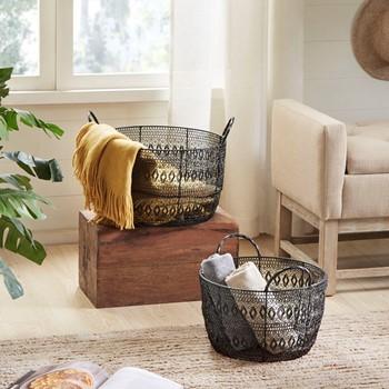 Floret Woven Metal Basket Set of 2