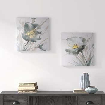 Ombre Grey Floret Printed Canvas with Gold Foil Embellishments 2 Piece Set