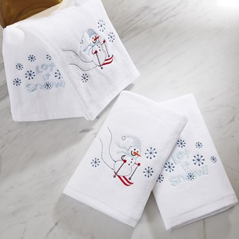 Let it Snow 4 Piece Embroidered Towel Set