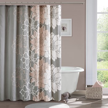 Lola 100% Cotton Sateen Floral Printed Shower Curtain