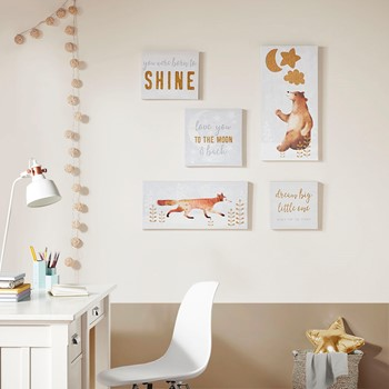 Born to Shine 5 PC Canvas Set With Gold Glitter