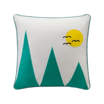 Wanderlust Mountain Appliqued Cotton Square Pillow