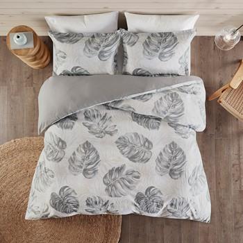 Amoria 3 Piece Printed Seersucker Palm Duvet Cover Set