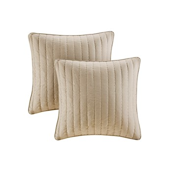 Camila Quilted Cotton Square Pillow Pair