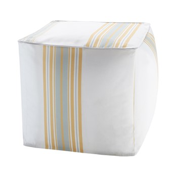 Newport Printed Stripe 3M Scotchgard Outdoor Square Pouf