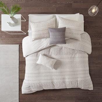Lizbeth 5 Piece Cotton Clip Jacquard Duvet Cover Set