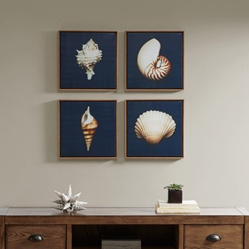 Ocean Blue Framed Canvas 4 Piece Set