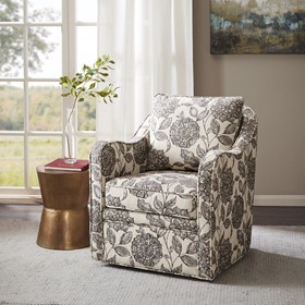 Brianne Slub Weave Wide Seat Swivel Arm Chair
