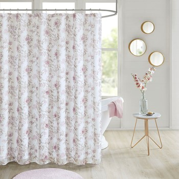 Idalia Floral Printed and 3D Embellished Shower Curtain