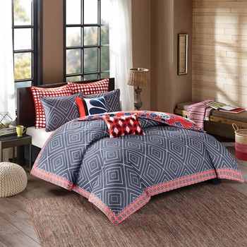Diamond Geo Cotton Reversible Print duvet cover set