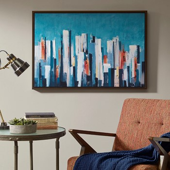 Metropolitan Center Blue Hand Embellished Framed Canvas