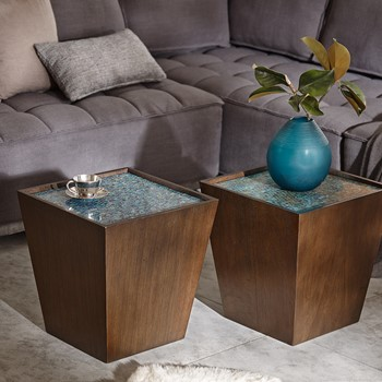 Mosaic Wooden Cube Accent Table
