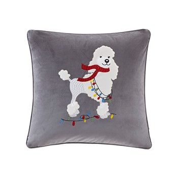 Francy The Holiday Poodle Square Dec Pillow