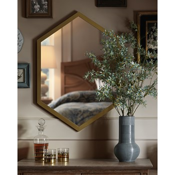 hexi mirror with wood frame - Wall Art Designer