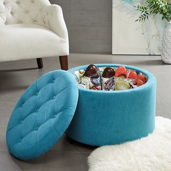 Sasha Round Ottoman with Shoe Holder Insert