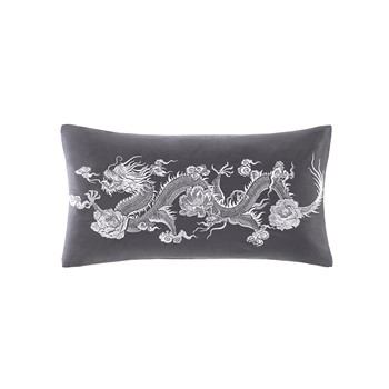 Sterling Dragon Embroidered Cotton Sateen Decorative Pillow
