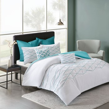 Sunita Cotton Pieced Tufted and Embroidered Duvet Cover Set