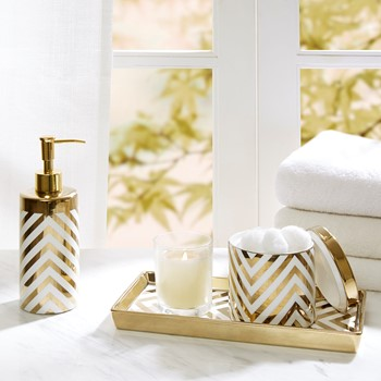 Gold Chevron 3 Piece Ceramic Bath Accessory Set