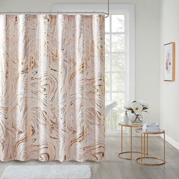 Rebecca Printed Marble Metallic Shower Curtain