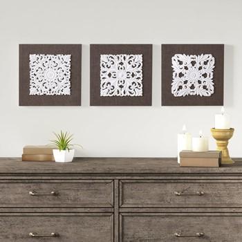 White Mandala Trinity 3D Embellished Linen Canvas 3 Piece Wall Art