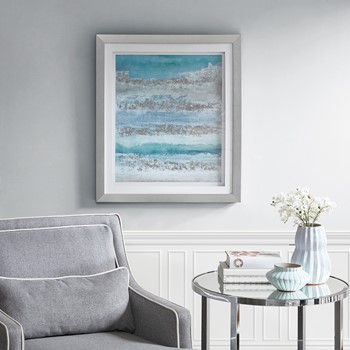 Coastal Abstract Blue Framed Graphic