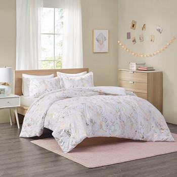 Magnolia Metallic Printed Floral Duvet Cover Set