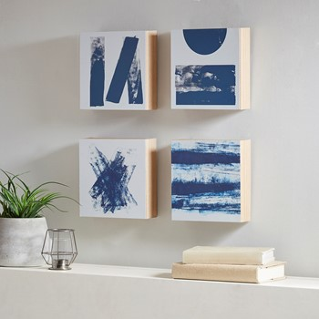 Stamp And Roll Blue 4 Piece Framed Art Wood Veneer Frame