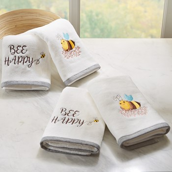 Bee Happy 4 Piece Embroidered Towel Set