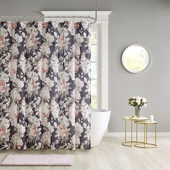 Mavis Floral Print Cotton Shower Curtain