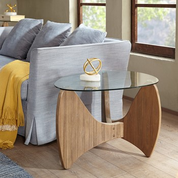 Rupert Glass Top End Table