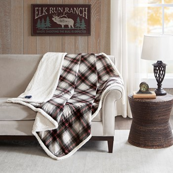 Ridley Oversized Plaid Print Faux Mink to Berber Heated Throw
