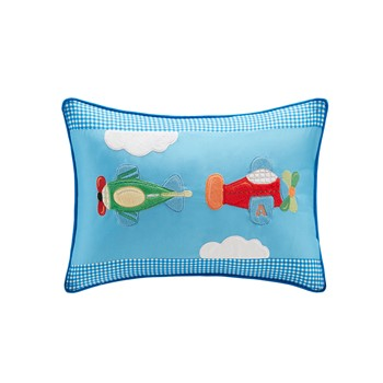 Totally Transit Plush Airplane Applique and Printed Oblong Pillow