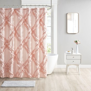 Kacie Tufted Diamond Ruffle Shower Curtain
