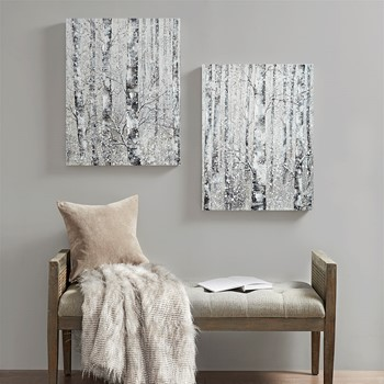 Winter Forest Hand Embellished Printed Canvas 2 Piece Set