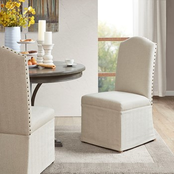 Foster Set of 2 High Back Dining Chairs with Skirts