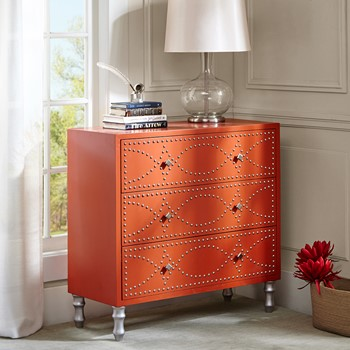 Jones Tangerine Nail head Accent Chest