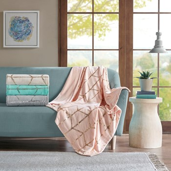Raina Metallic Print Throw
