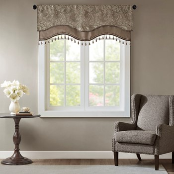 Aubrey Jacquard Window Rod Pocket Valance With Beads