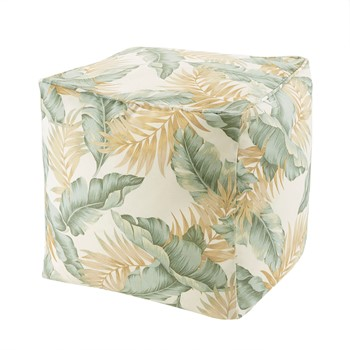 Coco Printed Leaf 3M Scotchgard Outdoor Pouf