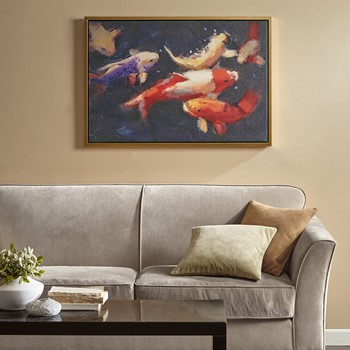 Koi Dance Framed Gel Coated Canvas